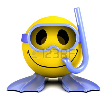 3d render of a smiley wearing goggles a snorkel and flippers Stock Photo