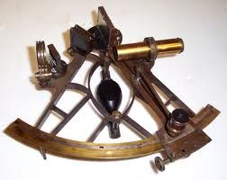 A sextant is a navigational instrument used to typically on ships (mostly before the invention of GPS) by sighting the sun at noon and noting its angle. By comparing the angle at noon with various tables, navigators could discern their location along a particular latitude. It was invented by Sir Isaac Newton in the early 1700s and refined by many others and is still used, virtually unchanged, today. Other instruments used include a chronometer to note time vs. Greenwich, England and a…