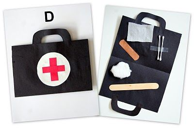 """using this for Hero week when we get a visit from a local ambulance service.  they will make a """"medic bag""""  Previous pinner wrote:  Activities for each letter of the week (Click ABC's at the top) Letter D Doctor Kit"""