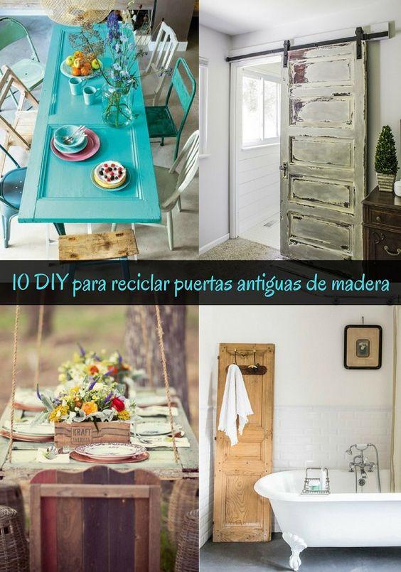 reciclar puertas antiguas de madera - pinterest