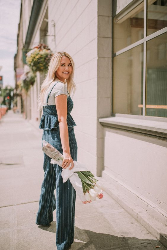 Plain grey tee meets an adorable denim jumpsuit from Anthropologie | All White Flowers | Fashion Blog | by Lauren Parker