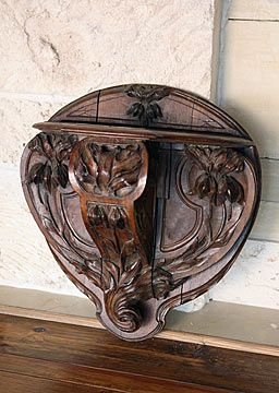 French Antique Carved Walnut Art Nouveau Period Wall-Bracket with Irises