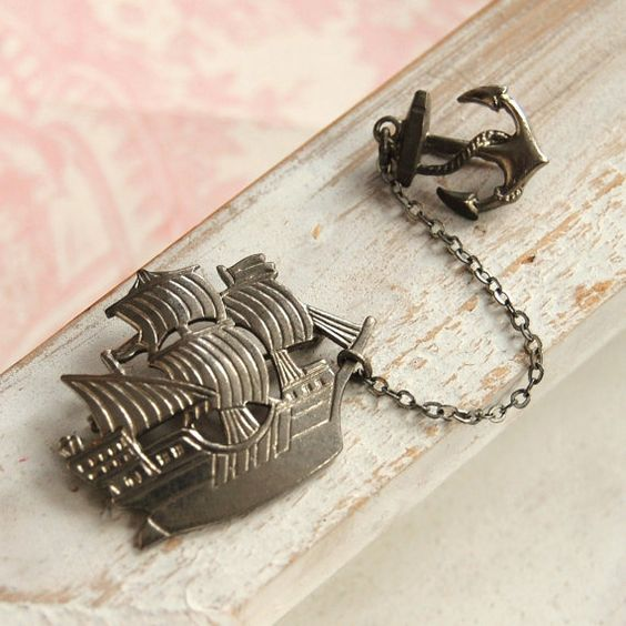 Vintage Ship and Anchor Double Brooch by NevermoreVintage on Etsy, $12.00