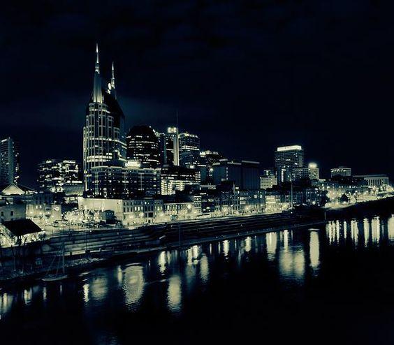 Nashville Skyline Reflected At Night