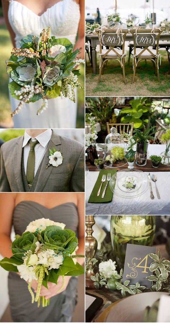 Green and gold kale wedding