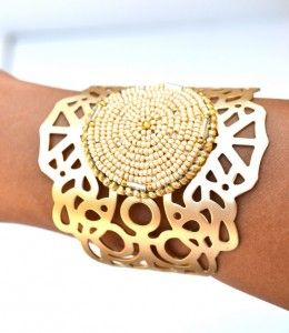 Amazing Ivory and Gold Lace Cuff Bracelet at SweetStarJewelry on Etsy