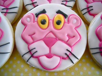 ピンクパンサーのアイシングクッキー