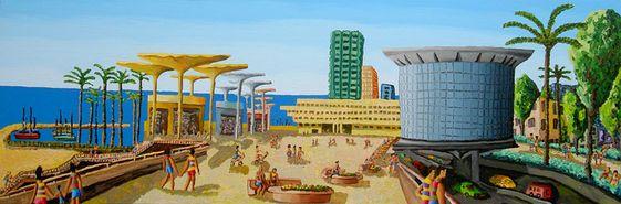 Atarim squarenaive paintings primitive art naife landscape tel aviv beach painting rapahel perez painter israeli artist