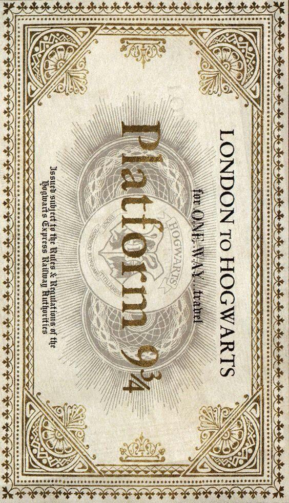 Harry Potter Train Ticket Platform 9 3 4 London To Hogwarts Harry Potter Fanlari Hogwarts Harry Potter Halloween
