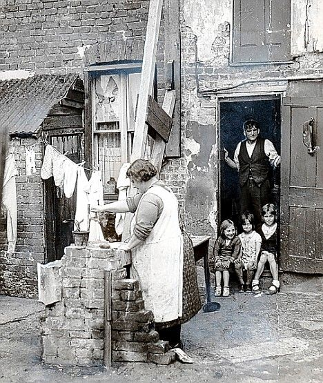 Living conditions of many working families in Britain circa 1930