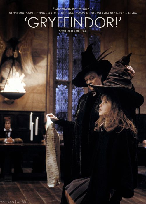 Hermione goes under the sorting hat ~ Harry Potter and the Sorcerers Stone