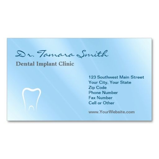Blue And White Dental Implant Clinic Office Business Card Dental - business card template for doctors