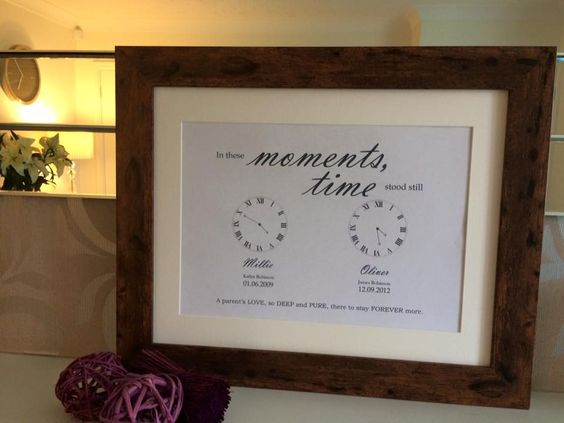 Beautiful personalised elegant framed print to cherish those special moments Personalise with child s full name date of birth time of birth pound 25