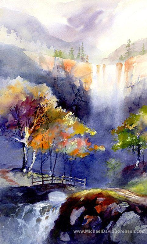Waterfall Watercolor Landscape Painting Print by Michael David Sorensen. Sierra…