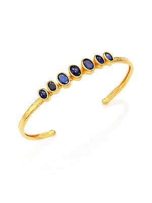 GURHAN Amulet Hue Blue Sapphire & 24K Yellow Gold Bangle Bracelet
