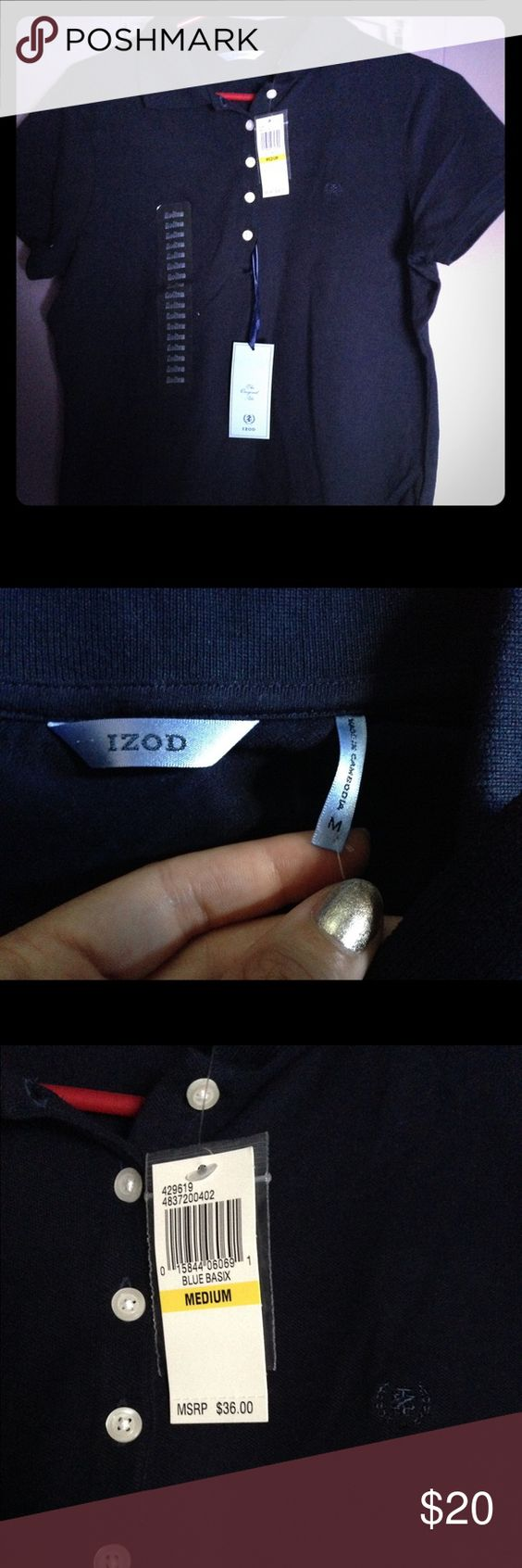 NWT IZOD Navy Blue Shirt It's a size M, navy blue shirt from IZOD. Never worn before, it was big on me. Make an offer! Izod Tops Button Down Shirts