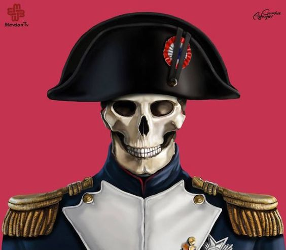 """Illustrator Gunduz Aghayev's series, """"Just Leaders"""", depicts iconic dictators of the past in their skeletal forms."""