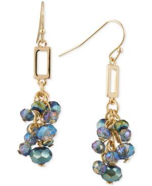 Anne Klein Beaded Cluster Drop Earrings - Gold