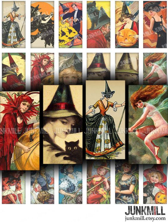 BEWITCHED  Digital Printable Collage Sheet  Pretty by JUNKMILL