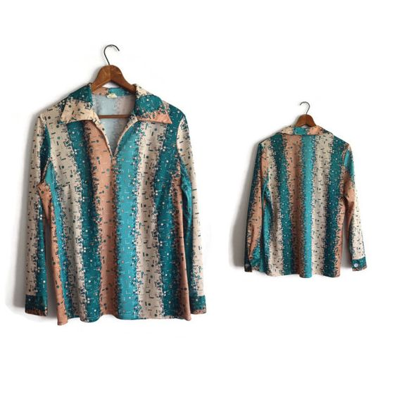 Vintage 1970s Shirt Blouse 46 Green Tan for by ASECONDHANDSHOP