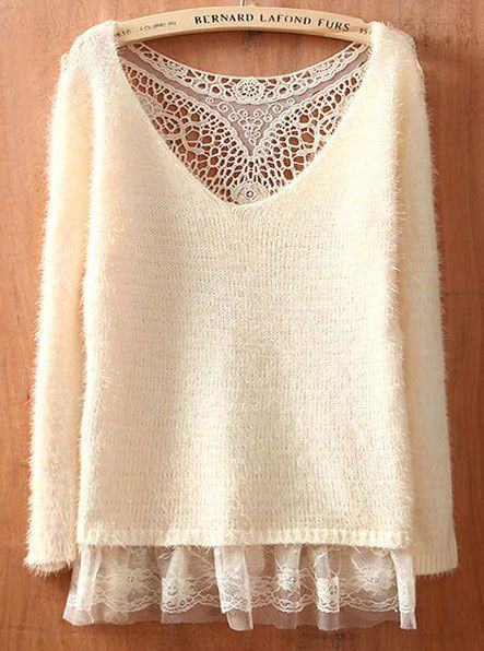 Beige Round Neck Long Sleeve Lace Hollow Sweater: