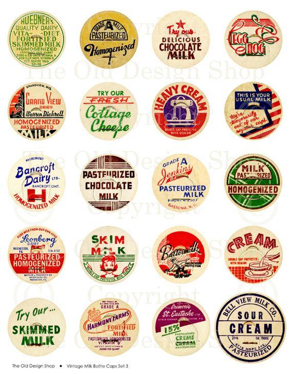 NEW Vintage Milk Bottle Caps Collage Sheet | Old Design Shop Blog