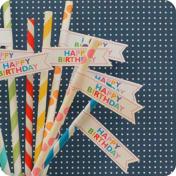 Milk, juice, or punch? They all taste yummier with these colorful birthday straws.