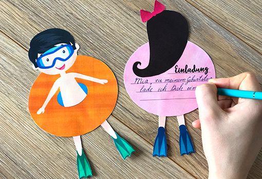 Einladung Schwimmbad Zum Kindergeburtstag Einladung Kindergeburtstag Basteln Madchen Einladungskarten Kindergeburtstag Basteln Jungen Kindergeburtstag Basteln