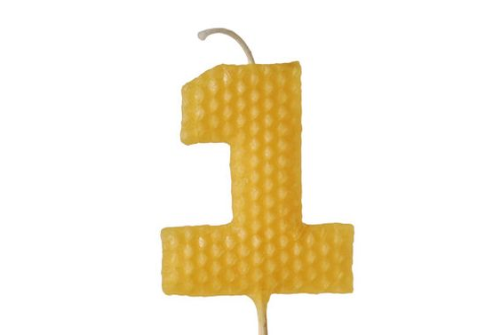 """1st Birthday Candle - Tall Yellow Number """"1"""" One Shaped Beeswax Birthday Cake Candle on 9"""" Stem. $14.00, via Etsy."""