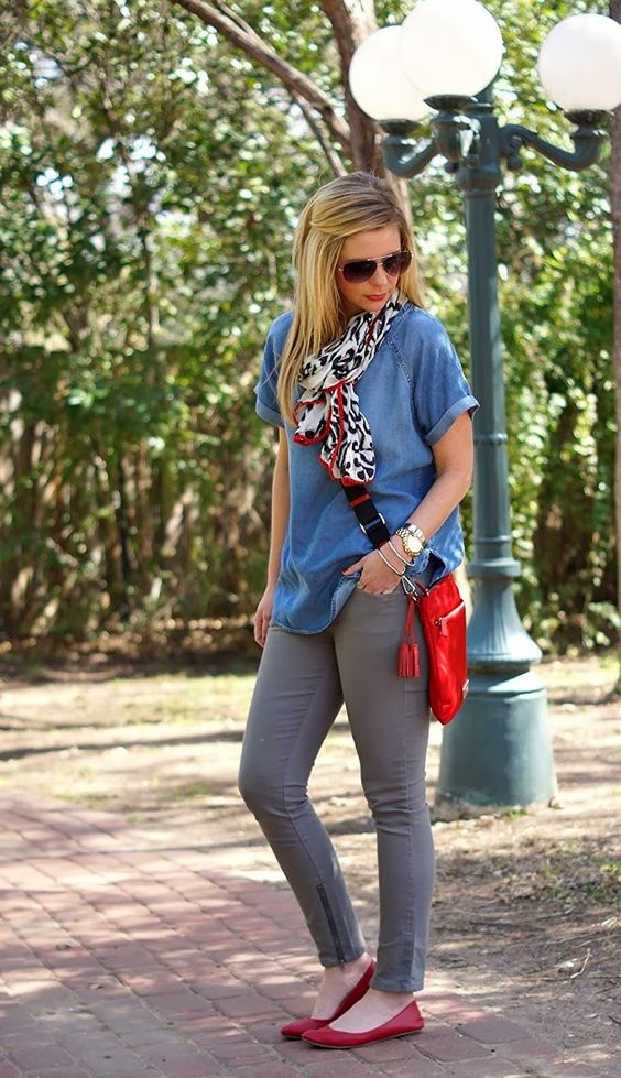 Color Combination from Because Shanna Said So: chambray, gray, red, black and white
