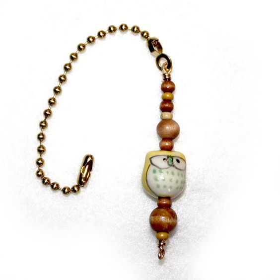 Pull Chain Wood Owl Light Wood Beads Ceiling Fan By