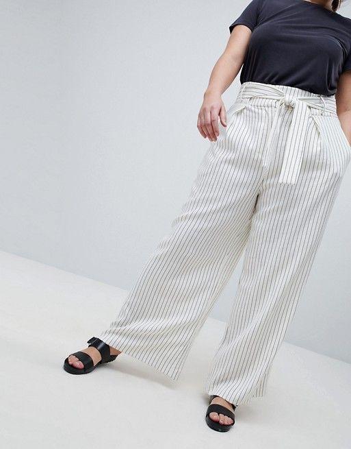 ASOS White | ASOS WHITE CURVE - Pantalon large à fines rayures