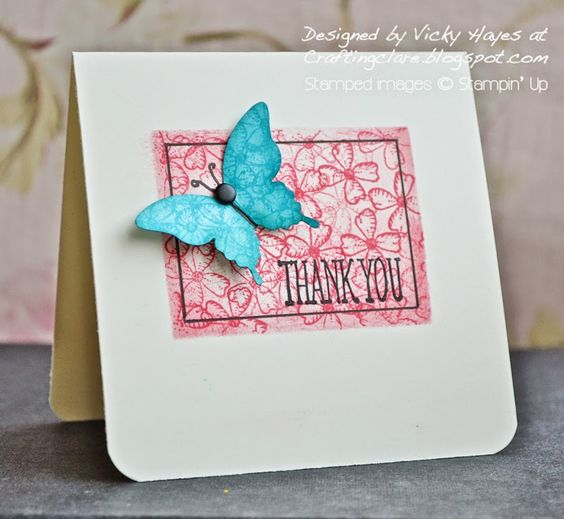 See what happens when you stamp classic ink over Blendabilities!: Su Ideas, Card Class, Butterfly Cards, Stampin Up Ideas, Butterfly Punch, Cards Butterflies, Card Ideas, Awesome Cards