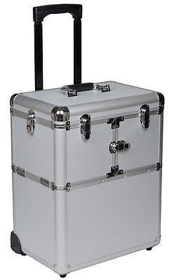"19"" Makeup Rolling Artist Cosmetic Train Case Aluminum Beauty Silver Lock Box"