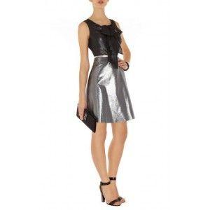 Karen Millen Metallic And Sheer Dress Silver Dn277 Online