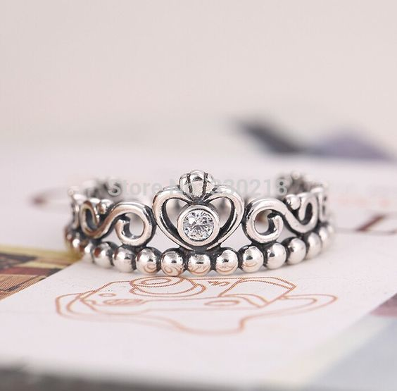 compatible pandora princess crown ring 925 silver