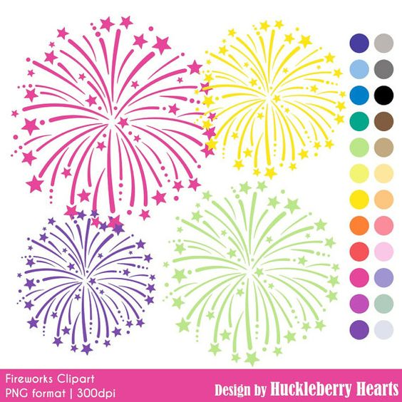 Fireworks Clip Art Digital Fireworks by HuckleberryHearts on Etsy