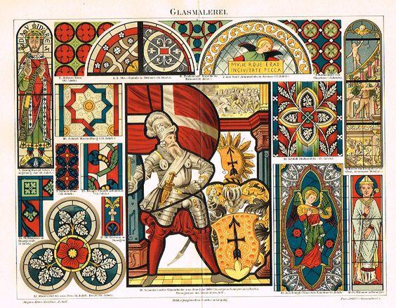 "Meyers' Lexicon - ""GLASMALEREI"" Decorative - Chromolithograph - c1890"