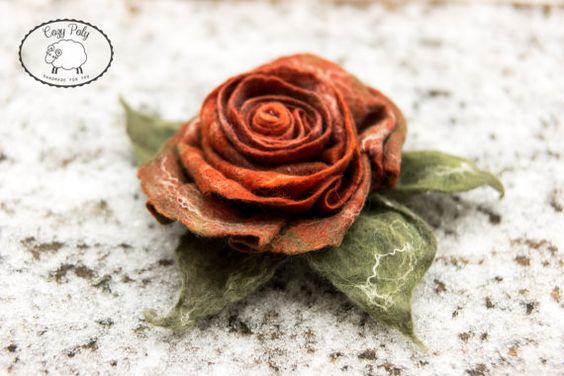 Silver Grey Felt Flower Pin Brooch Flower Brooch Merino wool flower Felt Flower Ranunculus Flower Light Pink Felted Flower