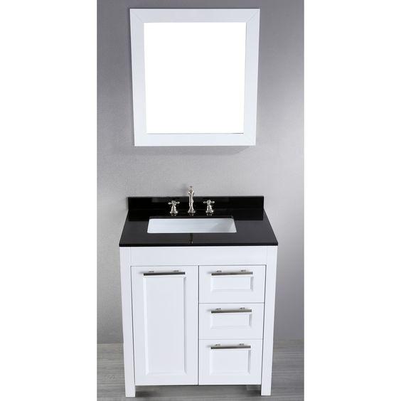 """Bosconi Contemporary 30"""" Single Bathroom Vanity Set with Mirror"""