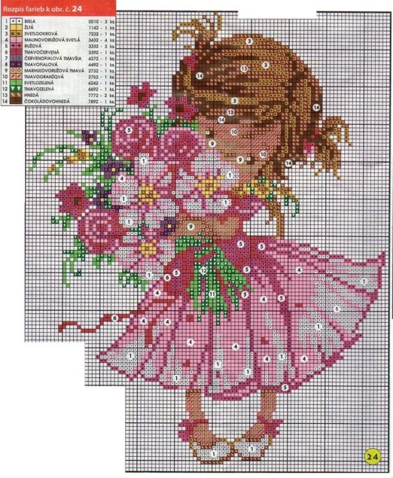 Cross-stitch Little Girl with Flowers, part 2...   Gallery.ru / Фото #1 - 7 - saltic:
