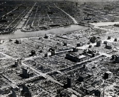 Tokyo's Kanda district lies in ruins soon after the end of World War II. Although the atomic bombs dropped on Hiroshima and Nagasaki caused huge destruction in those two cities, Tokyo, Osaka and other cities around the nation were also heavily damaged by fire-bombings that continued for much of the last year of fighting.