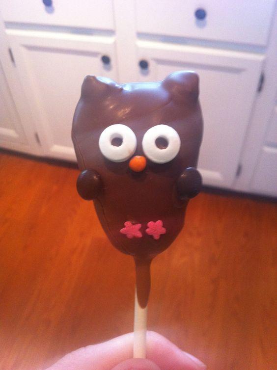My attempt at bakerella owl cake pops.