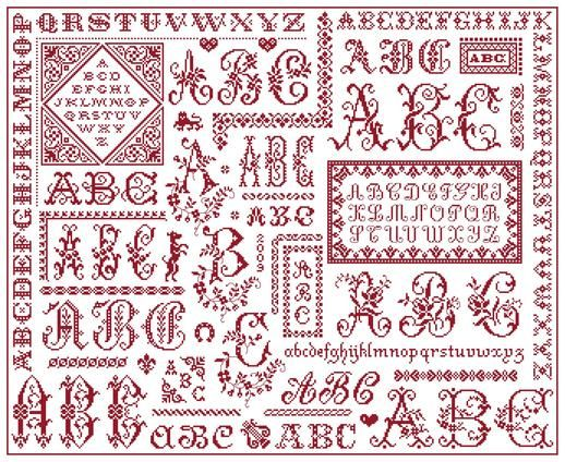 ABC Sampler - Marquoir rouge au point de croix de Clorami Designs. www.clorami-designs.be