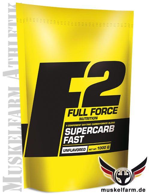 F2 Full Force Supercarb Fast mit einer 4-Komponenten-Kohlenhydratmischung für die schnelle Einnahme von Kohlenhydraten, für die Aufnahme tagsüber.