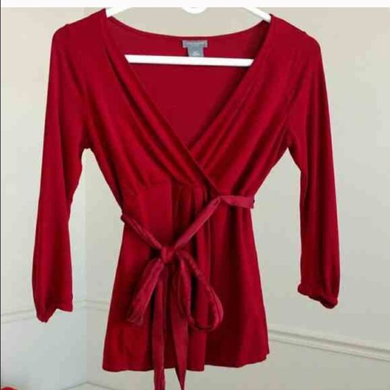 Ann Taylor XSP Top Deep red v-neck top with sash. Can also fit a small. Ann Taylor Tops