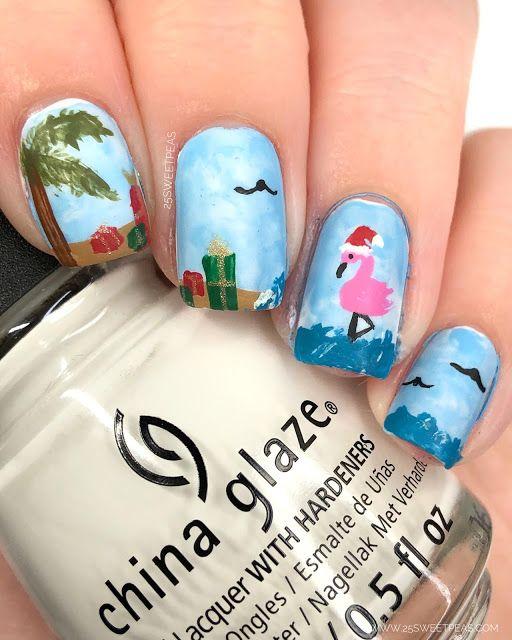 Beachy Christmas Nail Art In 2020 Christmas Nails My Nails Christmas Nail Art
