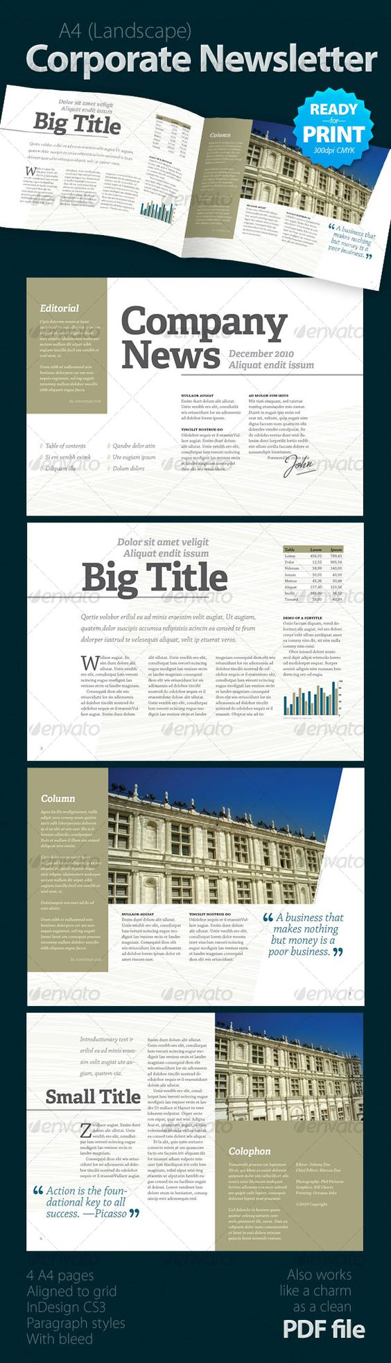 Corporate newsletter 4 pages adobe texts and brochures for Adobe newsletter templates