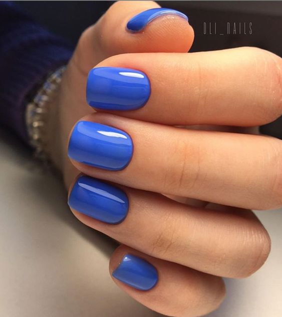 dark blue Acrylic Summer nails color design, Natural gel short coffin nails design ideas, Acrylic short square nails ideas, #summerNails #shortNails #shortCoffin #nailColor