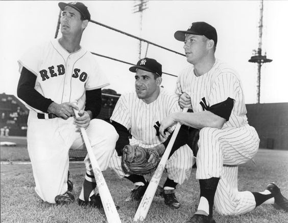 Ted Williams, Boston Red Sox, and Yogi Berra and Mickey Mantle, New York Yankees